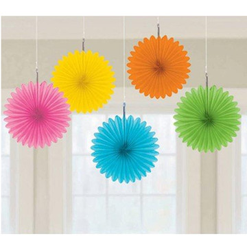 Multi Color Mini Hanging Fan Decorations