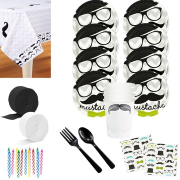 Mustache Party Deluxe Tableware Kit (Serves 8)