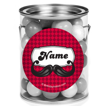 Mustache Personalized Mini Paint Cans (12 Count)