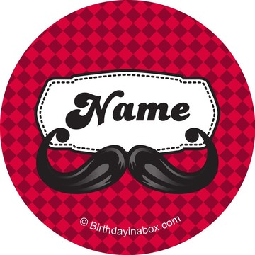 Mustache Personalized Mini Stickers (Sheet of 24)
