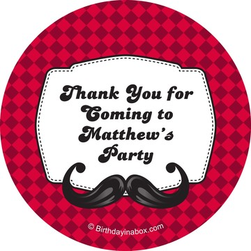 Mustache Personalized Stickers (Sheet of 12)