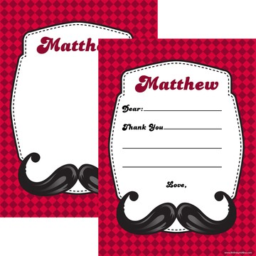Mustache Personalized Thank You (Each)
