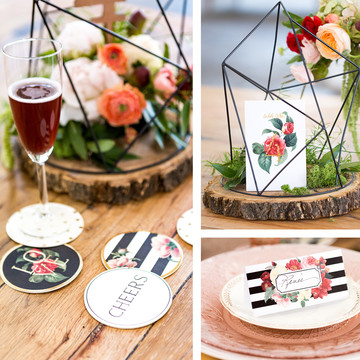 My Mind's Eye Botanical Wedding - Guest Table Decor Set Coasters