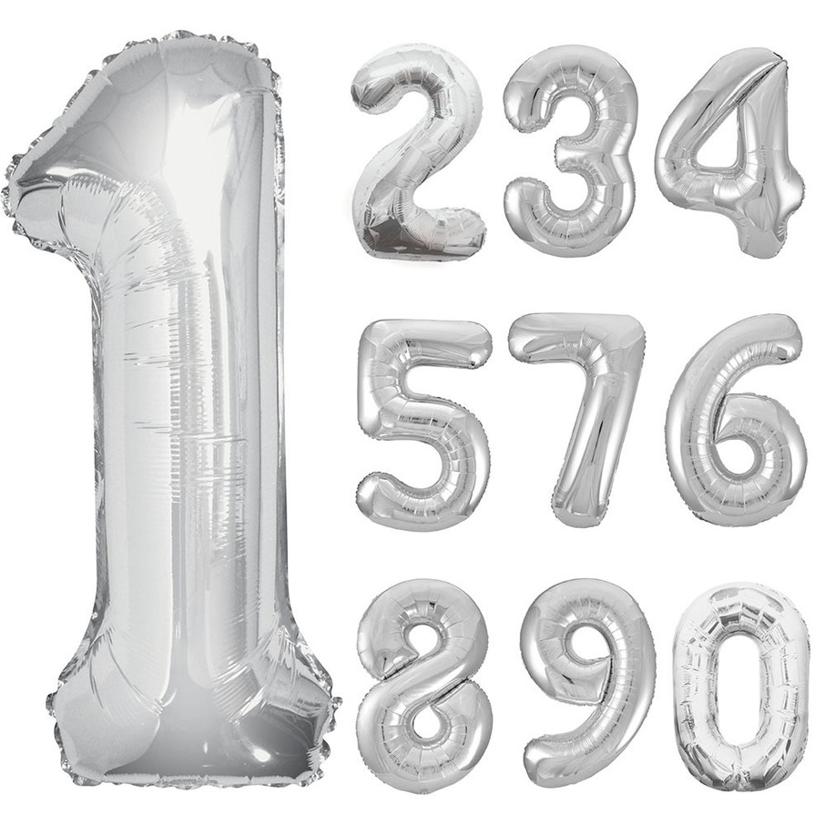 View larger image of Mylar Silver Number Balloons (each)