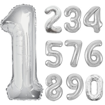 Mylar Silver Number Balloons (each)