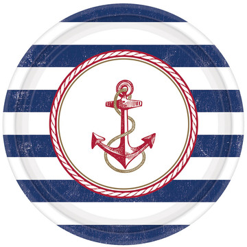 """Nautical 10.5"""" Luncheon Plates (8 Count)"""