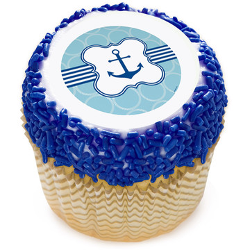 "Nautical Anchor 2"" Edible Cupcake Topper (12 Images)"