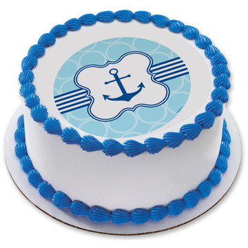 "Nautical Anchor 7.5"" Round Edible Cake Topper (Each)"