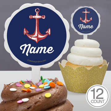 Nautical Personalized Cupcake Picks (12 Count)