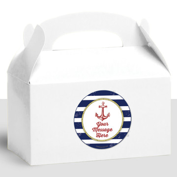 Nautical Personalized Treat Favor Boxes (12 Count)