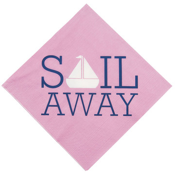 Nautical Pink Lunch Napkins (16 Count)