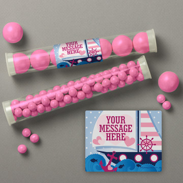 Nautical Pink Personalized Candy Tubes (12 Count)