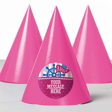 Nautical Pink Personalized Party Hats (8 Count)