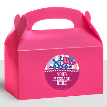 Nautical Pink Personalized Treat Favor Boxes (12 Count)