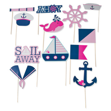 Nautical Pink Stick Props (12 Pieces)