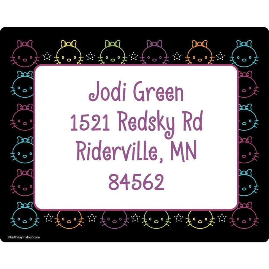 View larger image of Neon Kitty Personalized Address Labels (Sheet of 15)