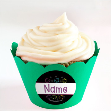 Neon Kitty Personalized Cupcake Wrappers (Set of 24)