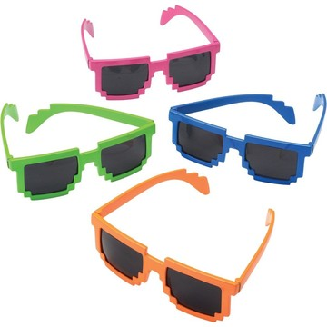 Neon Robot 8-Bit Plastic Glasses (Each)