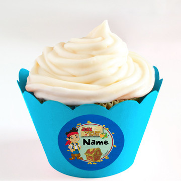 Never Land Pirates Personalized Cupcake Wrappers (Set of 24)