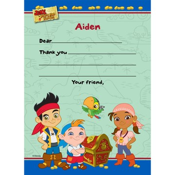 Never Land Pirates Personalized Thank You Note (Each)