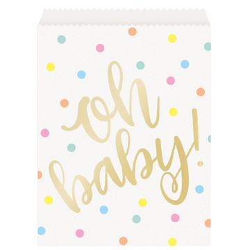 """Oh Baby"" Gold Baby Shower Paper Goodie Bags (8)"