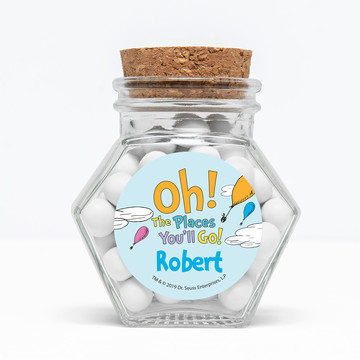 "Oh The Places You'll Go Personalized 3"" Glass Hexagon Jars, 12ct"