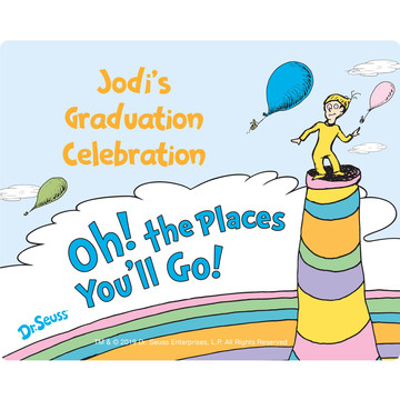 Oh The Places You'll Go Personalized Rectangular Stickers, Sheet of 15