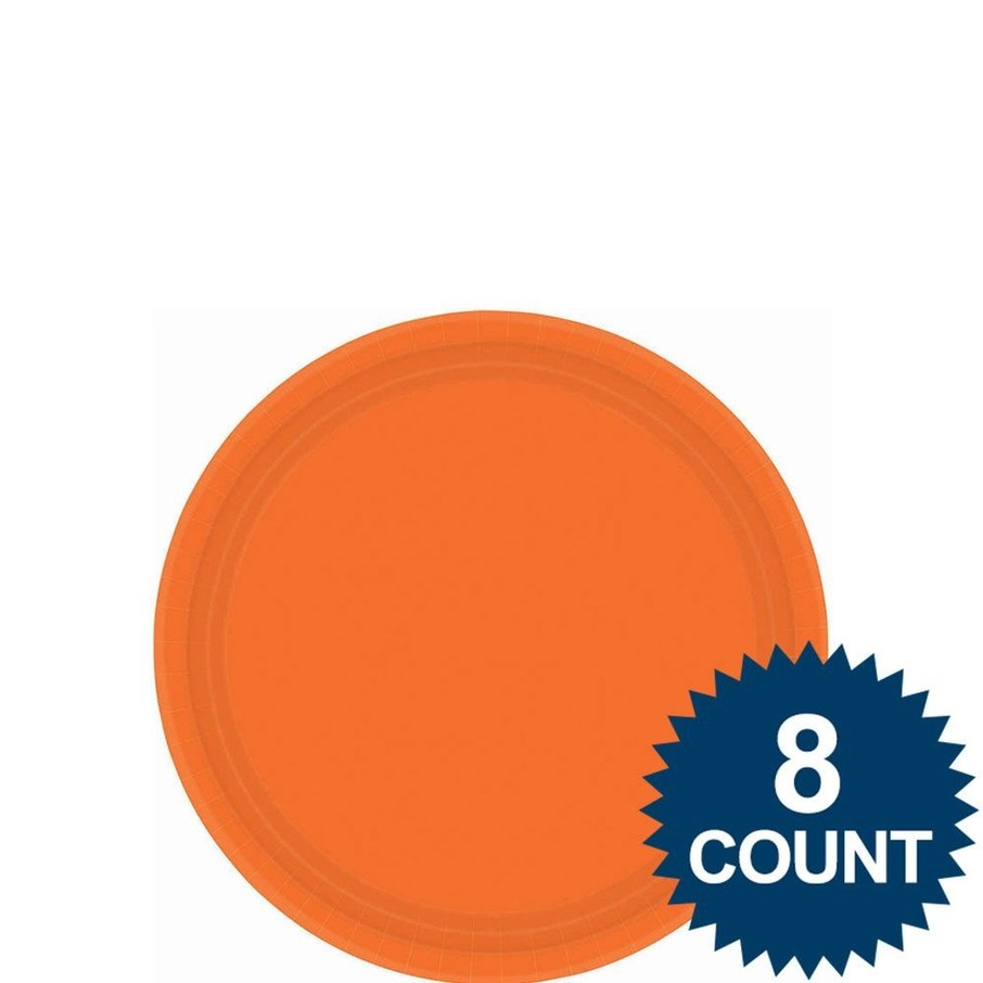 "View larger image of Orange 7"" Paper Cake Plates (8 Pack)"