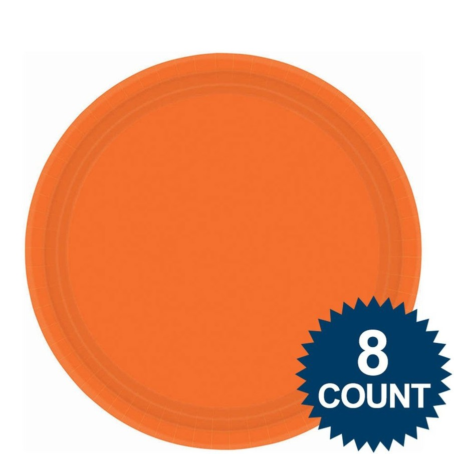 """View larger image of Orange 9"""" Paper Luncheon Plates (8 Pack)"""