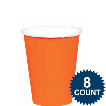 Orange 9oz. Paper Cups (8 Pack)
