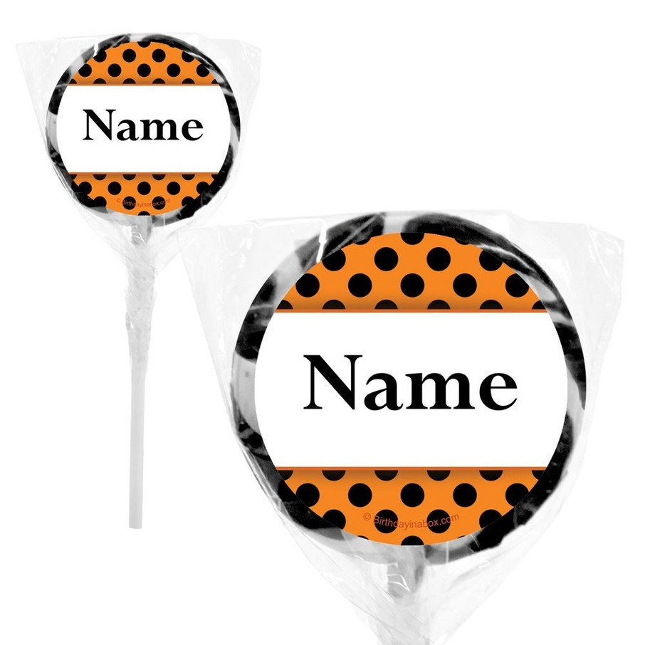 """View larger image of Orange and Black Dots Personalized 2"""" Lollipops (20 Pack)"""