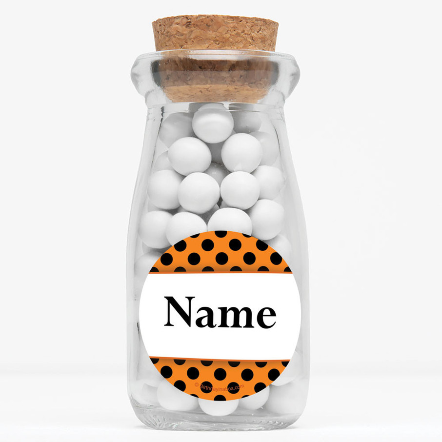 """View larger image of Orange And Black Dots Personalized 4"""" Glass Milk Jars (Set of 12)"""