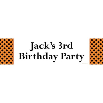 Orange and Black Dots Personalized Banner (Each)