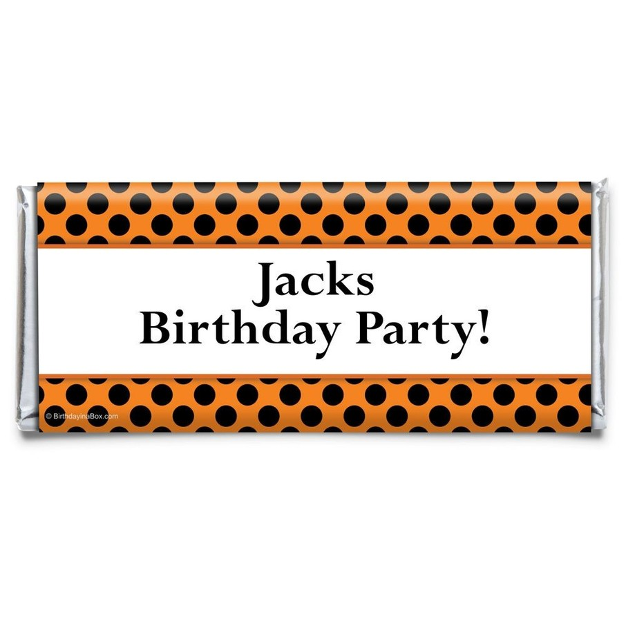 View larger image of Orange and Black Dots Personalized Candy Bar Wrapper (Each)