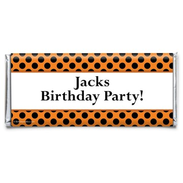 Orange and Black Dots Personalized Candy Bar Wrapper (Each)