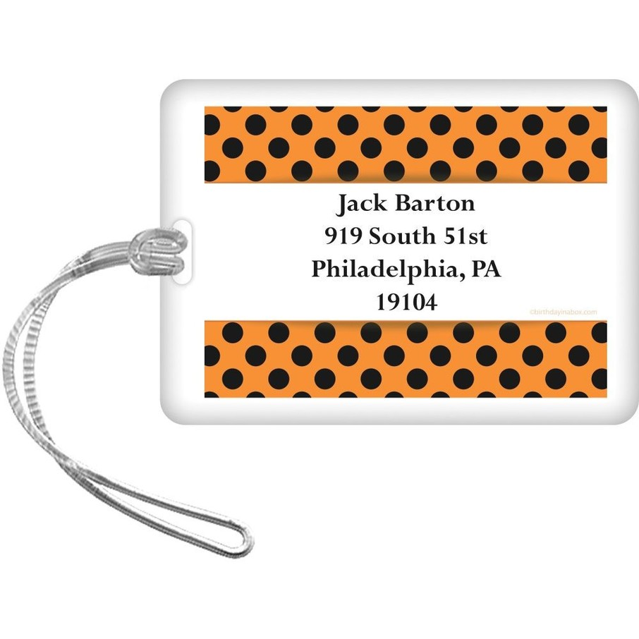 View larger image of Orange and Black Dots Personalized Luggage Tag (Each)
