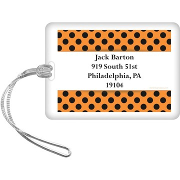 Orange and Black Dots Personalized Luggage Tag (Each)