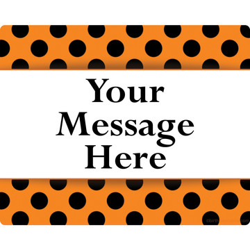 Orange And Black Dots Personalized Rectangular Stickers (Sheet of 15)