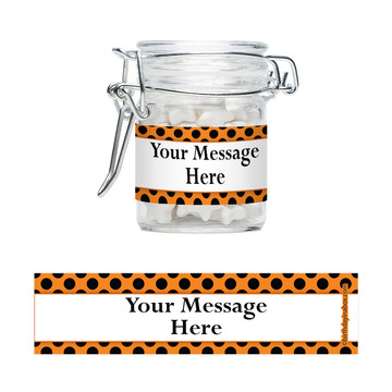 Orange And Black Dots Personalized Swing Top Apothecary Jars (12 ct)