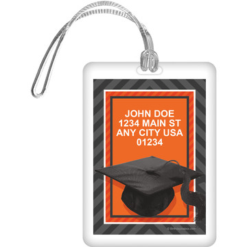 Orange Caps Off Graduation Personalized Luggage Tag (Each)