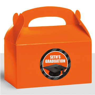 Orange Caps Off Graduation Personalized Treat Favor Boxes (12 Count)