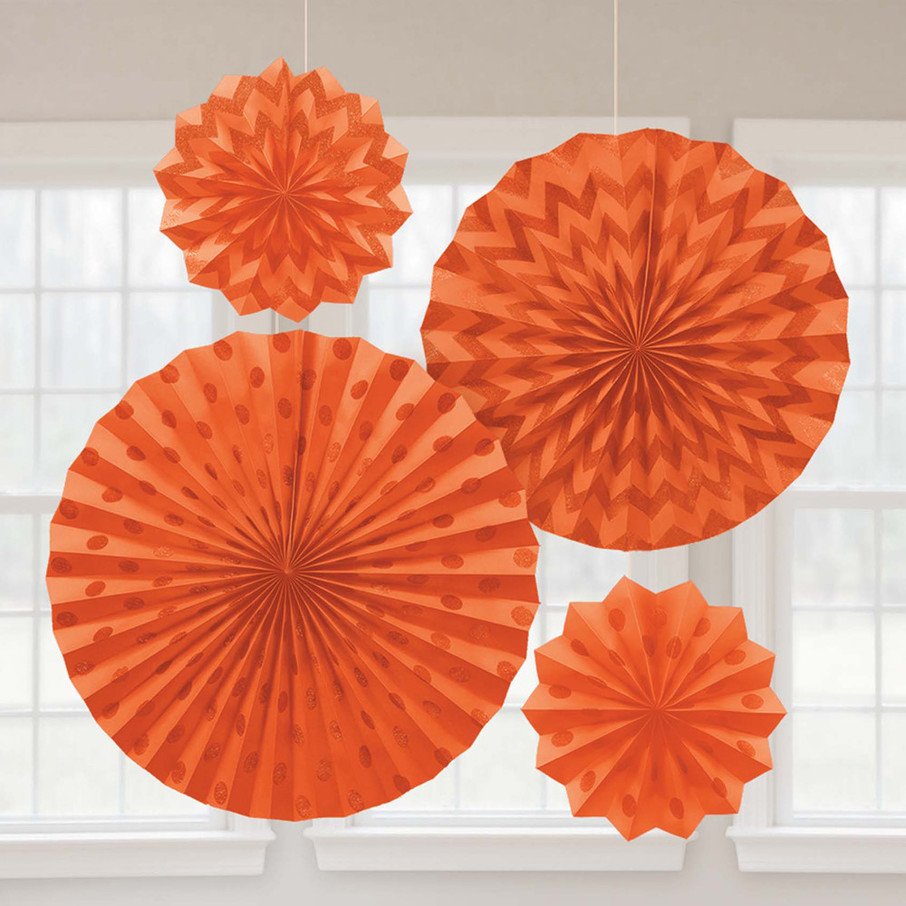 View larger image of Orange Glitter Paper Fan Decorations (4 Pack)