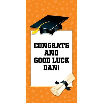 "Orange Graduation Personalized Giant Banner 30x60"" (Each)"