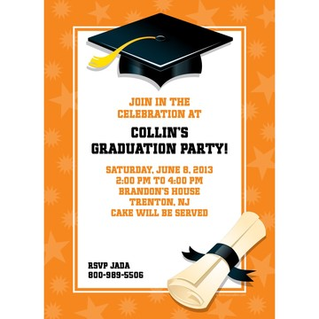 Orange Graduation Personalized Invitation (Each)