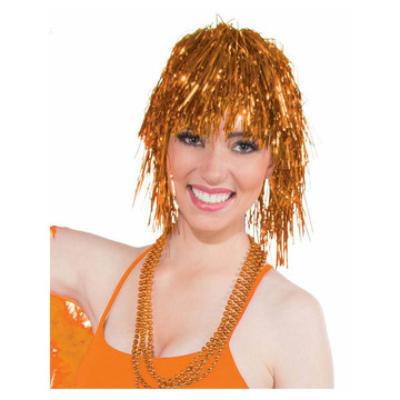 Orange Tinsle Wig