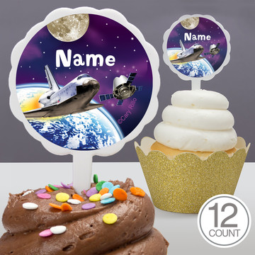 Outer Space Personalized Cupcake Picks (12 Count)