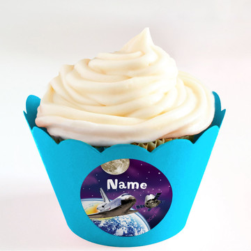 Outer Space Personalized Cupcake Wrappers (Set of 24)