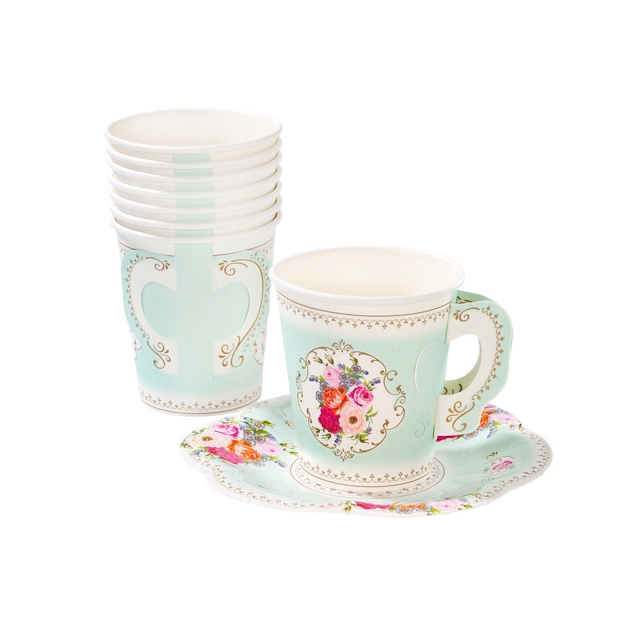 View larger image of Paper Cup With Handle Saucers Set (12 Count)