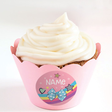 Party Bows Personalized Cupcake Wrappers (Set of 24)
