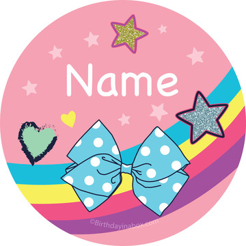 Party Bows Personalized Mini Stickers (Sheet of 24)